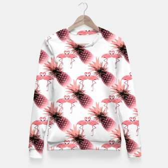 Thumbnail image of Pink Flamingos Pineapples Tropical Fruit Pattern Fitted Waist Sweater, Live Heroes