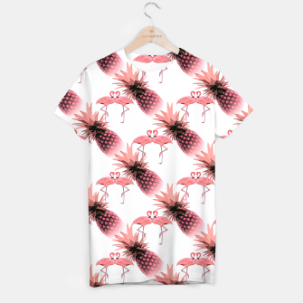 Thumbnail image of Pink Flamingos Pineapples Tropical Fruit Pattern T-shirt, Live Heroes