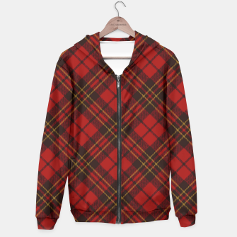 Thumbnail image of Adorable Red Christmas tartan pattern Zip up hoodie, Live Heroes