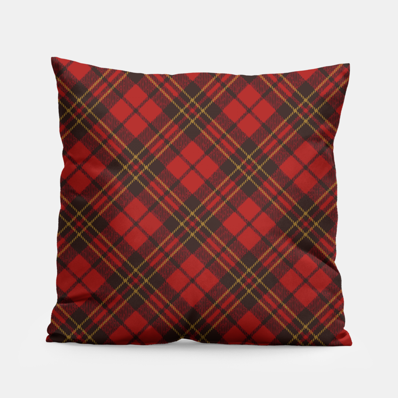 Image of Adorable Red Christmas tartan Pillow - Live Heroes