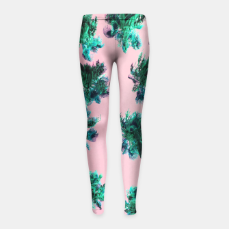Miniatur Palm Trees Girl's Leggings, Live Heroes