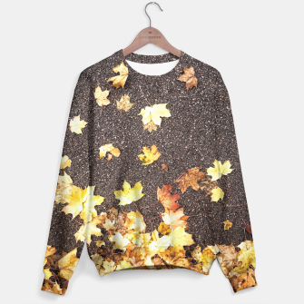 Gold yellow maple leaves autumn asphalt road Sweater thumbnail image