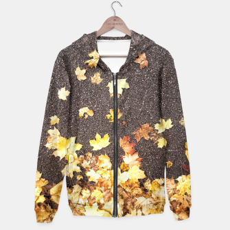 Gold yellow maple leaves autumn asphalt road Hoodie thumbnail image