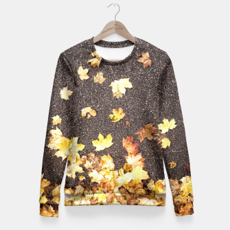 Gold yellow maple leaves autumn asphalt road Fitted Waist Sweater thumbnail image