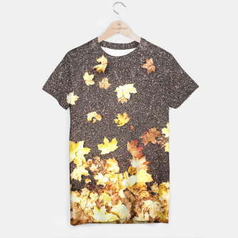 Gold yellow maple leaves autumn asphalt road T-shirt thumbnail image