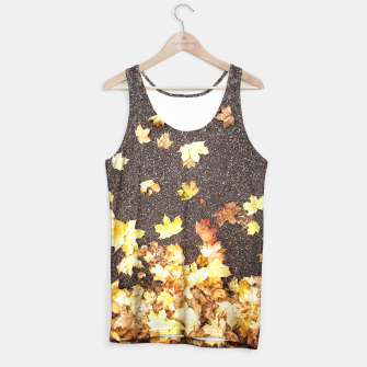 Gold yellow maple leaves autumn asphalt road Tank Top thumbnail image