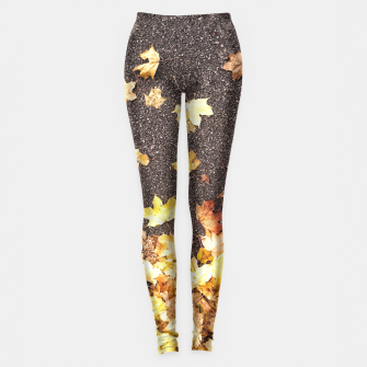 Gold yellow maple leaves autumn asphalt road Leggings thumbnail image