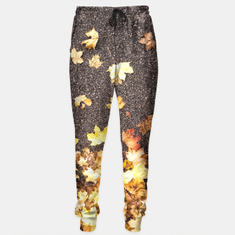 Gold yellow maple leaves autumn asphalt road Sweatpants thumbnail image