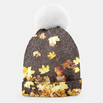 Gold yellow maple leaves autumn asphalt road Beanie thumbnail image