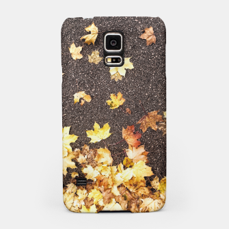 Gold yellow maple leaves autumn asphalt road Samsung Case thumbnail image