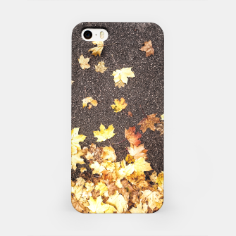 Gold yellow maple leaves autumn asphalt road iPhone Case thumbnail image