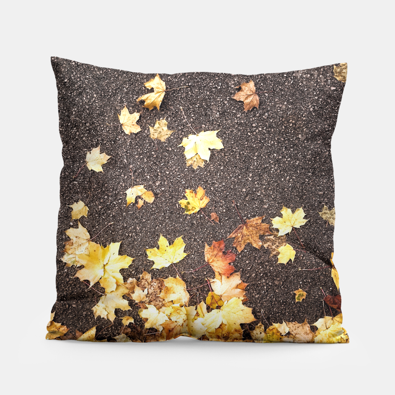 Image of Gold yellow maple leaves autumn asphalt road Pillow - Live Heroes