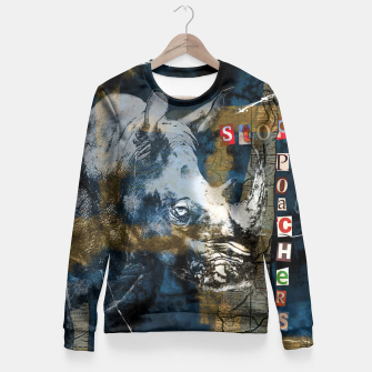 Miniatur Stop Rhino Poachers Wildlife Conservation Art Fitted Waist Sweater, Live Heroes