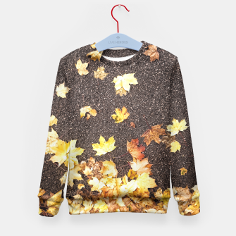 Gold yellow maple leaves autumn asphalt road Kid's Sweater thumbnail image