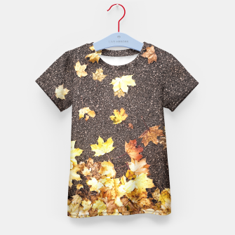 Gold yellow maple leaves autumn asphalt road Kid's T-shirt thumbnail image