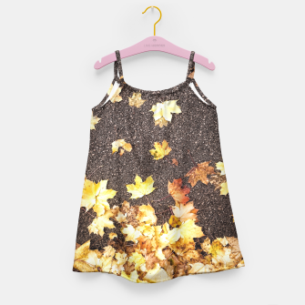 Gold yellow maple leaves autumn asphalt road Girl's Dress thumbnail image