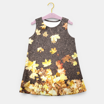 Gold yellow maple leaves autumn asphalt road Girl's Summer Dress thumbnail image