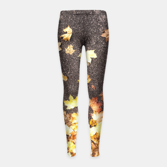 Gold yellow maple leaves autumn asphalt road Girl's Leggings thumbnail image