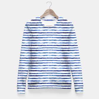 Miniaturka Blue grungy stripes Fitted Waist Sweater, Live Heroes