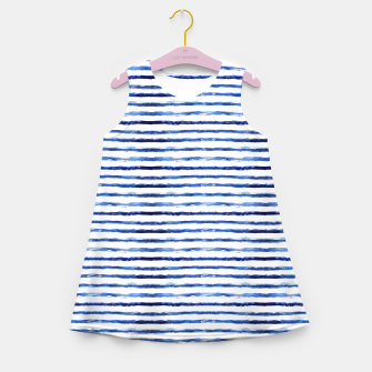 Miniaturka Blue grungy stripes Girl's Summer Dress, Live Heroes
