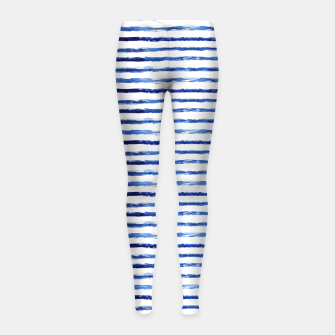 Thumbnail image of Blue grungy stripes Girl's Leggings, Live Heroes