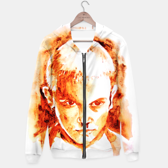 Thumbnail image of Stranger thing 11 coffe painting girl portrait Hoodie, Live Heroes