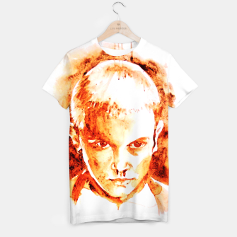 Thumbnail image of Stranger thing 11 coffe painting girl portrait T-shirt, Live Heroes