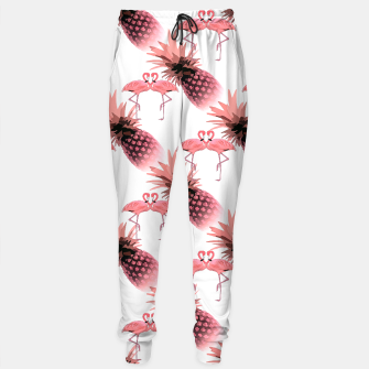 Thumbnail image of Pink Flamingos Pineapples Tropical Fruit Pattern Sweatpants, Live Heroes