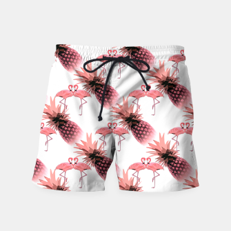 Thumbnail image of Pink Flamingos Pineapples Tropical Fruit Pattern Swim Shorts, Live Heroes