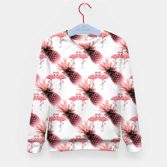 Thumbnail image of Pink Flamingos Pineapples Tropical Fruit Pattern Kid's Sweater, Live Heroes