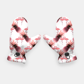 Thumbnail image of Pink Flamingos Pineapples Tropical Fruit Pattern Gloves, Live Heroes