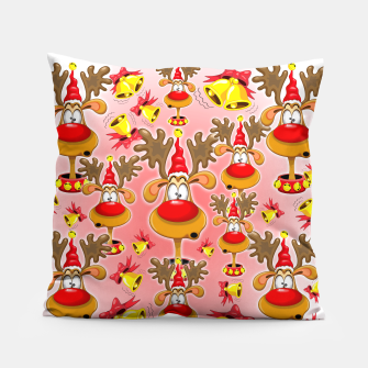 Thumbnail image of Reindeer Fun Christmas Cartoon with Bells Alarms Pillow, Live Heroes