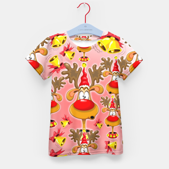 Reindeer Fun Christmas Cartoon with Bells Alarms Kid's T-shirt thumbnail image