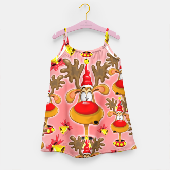 Reindeer Fun Christmas Cartoon with Bells Alarms Girl's Dress thumbnail image