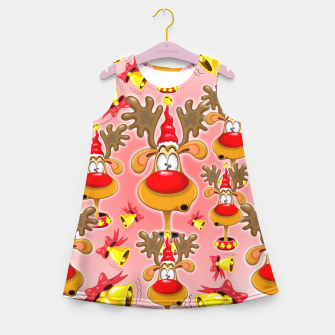 Thumbnail image of Reindeer Fun Christmas Cartoon with Bells Alarms Girl's Summer Dress, Live Heroes