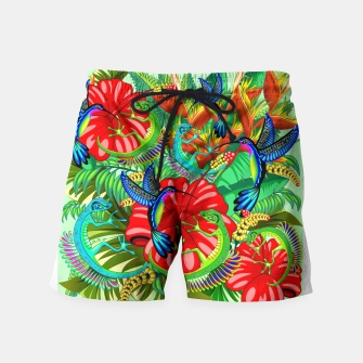 Thumbnail image of The Lizard, The Hummingbird and The Hibiscus Swim Shorts, Live Heroes