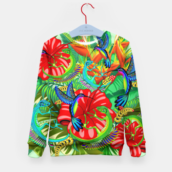 The Lizard, The Hummingbird and The Hibiscus Kid's Sweater thumbnail image