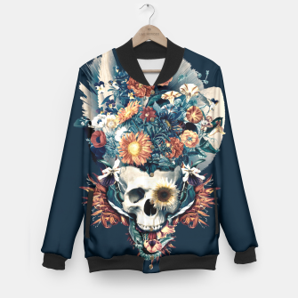 Thumbnail image of Skull and Flowers Baseball Jacket, Live Heroes