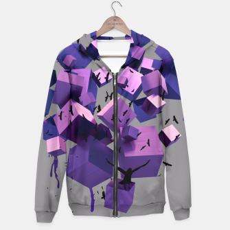 Miniatur Birds Flying among 3D melting cubes Hoodie, Live Heroes