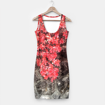 Thumbnail image of Red ivy leaves autumn stone wall Simple Dress, Live Heroes