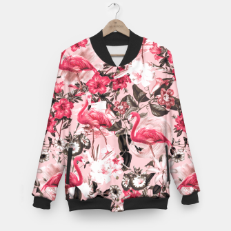 Thumbnail image of Floral and Flemingo III Pattern Baseball Jacket, Live Heroes