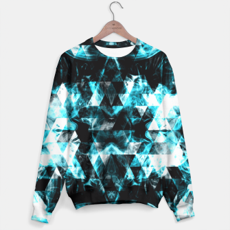 Electrifying blue sparkly triangle flames Sweater thumbnail image
