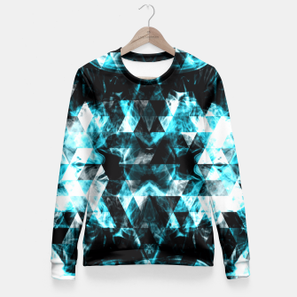 Electrifying blue sparkly triangle flames Fitted Waist Sweater thumbnail image