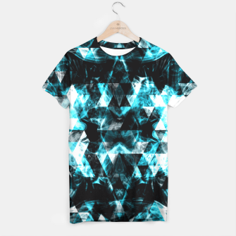 Electrifying blue sparkly triangle flames T-shirt thumbnail image