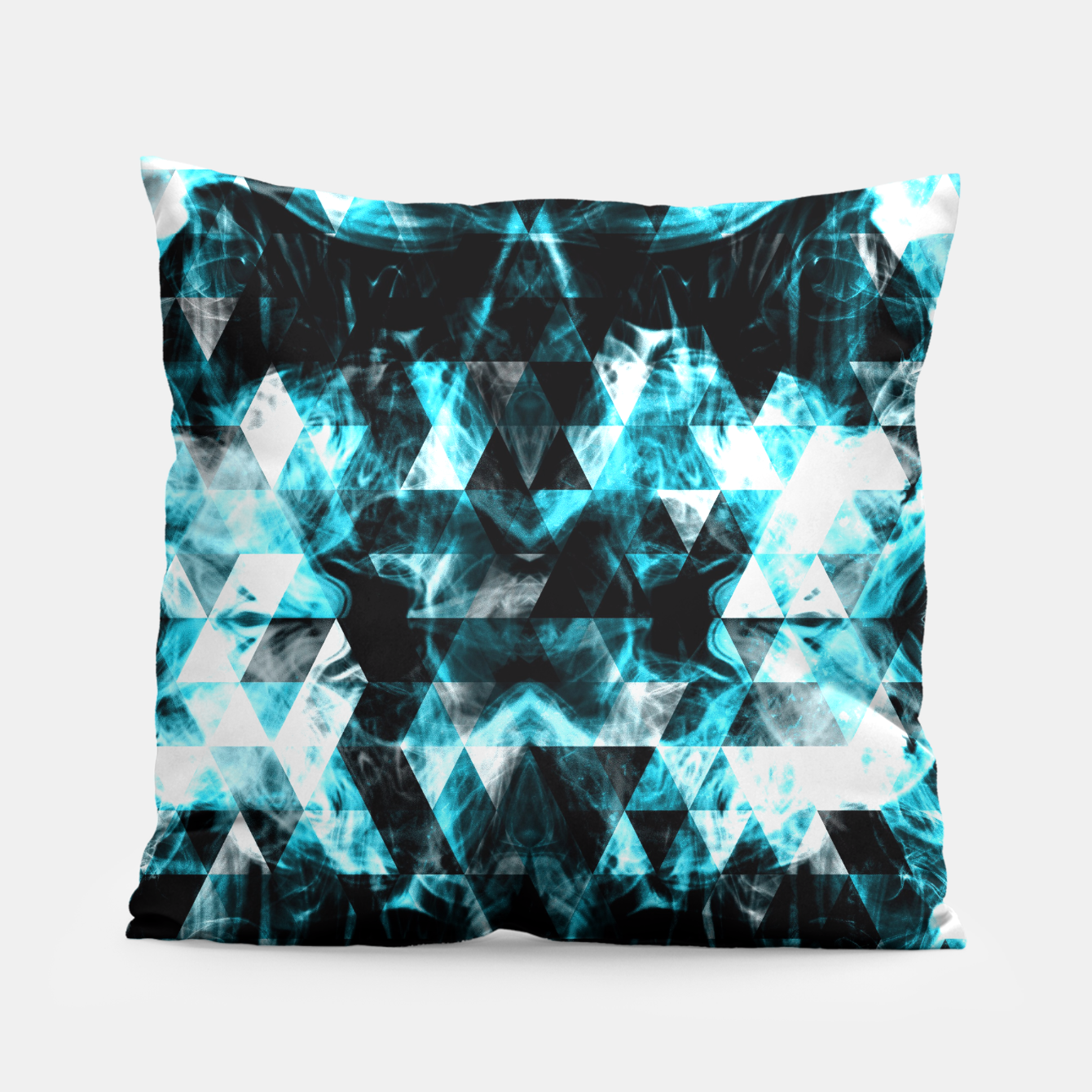 Image of Electrifying blue sparkly triangle flames Pillow - Live Heroes