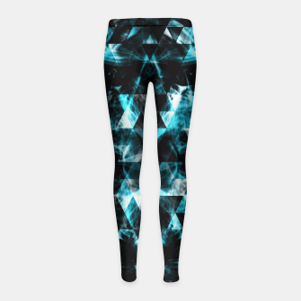 Electrifying blue sparkly triangle flames Girl's Leggings thumbnail image