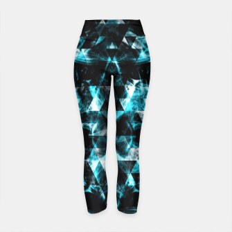 Electrifying blue sparkly triangle flames Yoga Pants thumbnail image