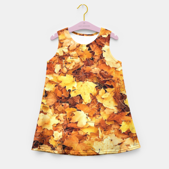 Miniaturka Gold yellow fall maple leaves Girl's Summer Dress, Live Heroes
