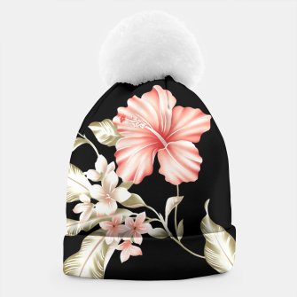 Thumbnail image of Pastel Hibiscus (Blk Bg) Beanie, Live Heroes