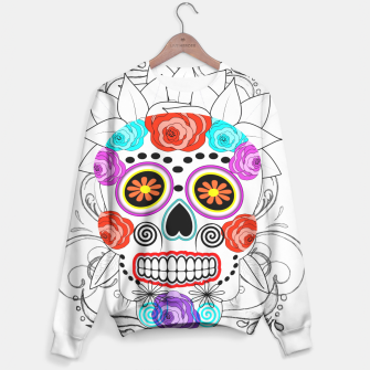 Thumbnail image of Day Of The Dead Sugar Skull Funky Design Sweater, Live Heroes